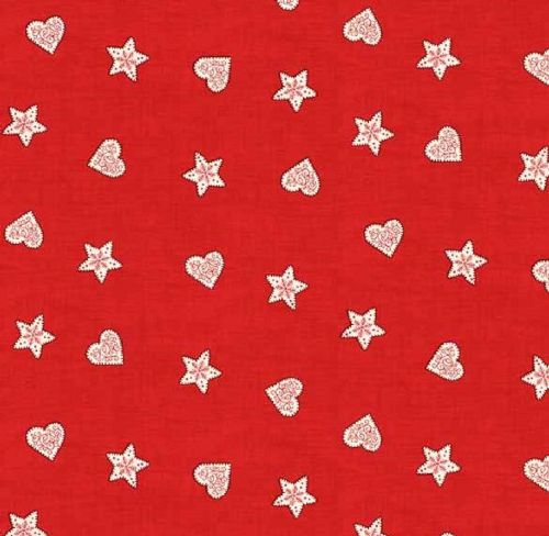 Makower - Scandi, Hearts & Stars - Red Christmas Quilting Fabric